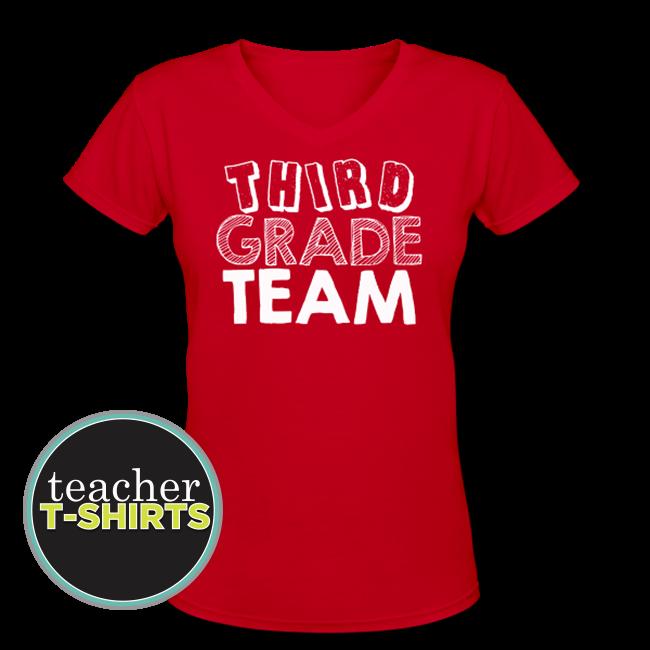 Third Grade Team Teacher Shirt V-Neck