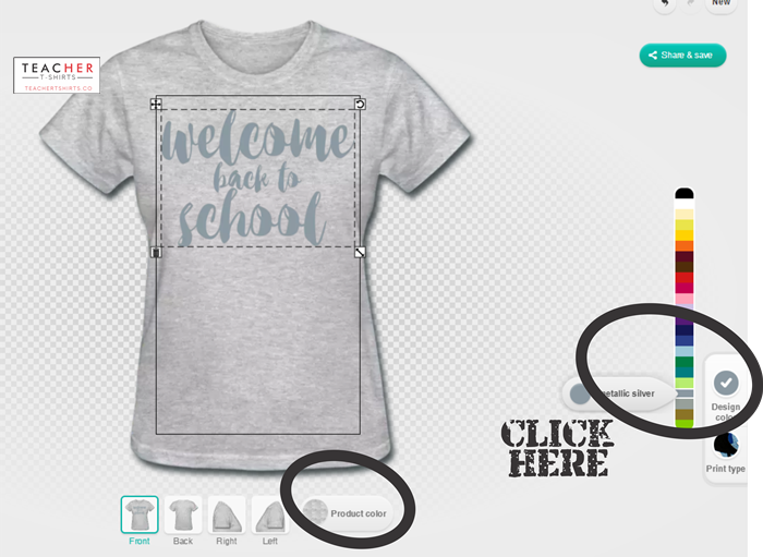 You can pick your shirt color or change the print design color too on teachertshirts.co