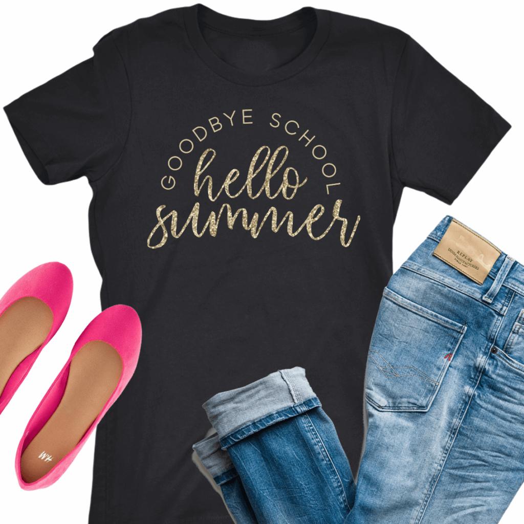 goodbye school hello summer teacher t-shirt with glitter