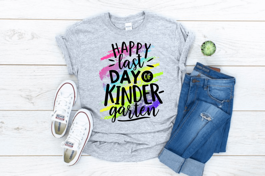 happy last day of kindergarten teacher t-shirt but more grade levels available